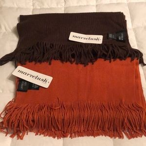 Set of Two Marvelush Scarves in Spice and Brown